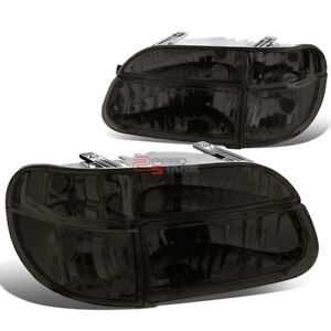 For 95 01 Explorer 97 Mountaineer L R Pair Smoked Headlight Clear Corner Side