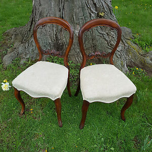 Two Antique 19th C Balloon Back Victorian Parlor Chairs See Delivery Options