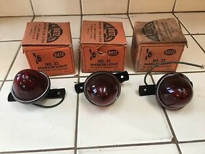 3 Dietz 32 Red Glass Clearance Marker Lights Travel Trailer Truck Nos Nib Old