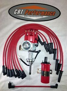 Dodge 273 318 340 360 Red Small Cap Hei Distributor 45k Coil Plug Wires Usa