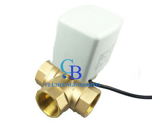 New G1 Dn25 Brass 3 Way 24v Ac Motorized Ball Valve T Type Electrical Valve