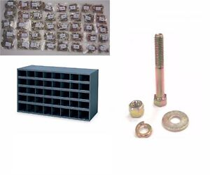 2715 Pc Grade 8 Coarse Bolt Nut Flat Lock Washer Assortment W 40 Hole Bin