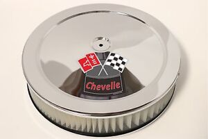 Chrome Air Cleaner White Perf 14x3 Chevrolet Chevy Fits 4bbl New Chevelle Red
