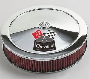 Chrome Air Cleaner Red Washable 14x3 Chevrolet Chevy Fits 4bbl Chevelle White