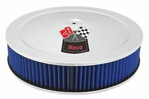 Chrome Air Cleaner Blue Washable 14x3 Chevrolet Chevy Fits 4bbl New Nova Red