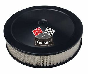 Black Air Cleaner White Perf Filter 14x3 Chevy Fits 4bbl New Camaro White New