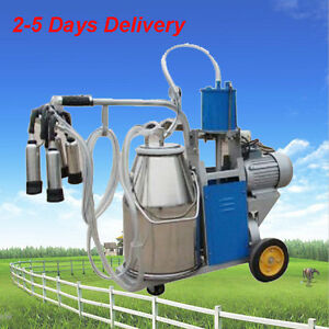 Electric Single Cow Milking Machine Cattle Dairy Milker Pulsator W 25l Bucket
