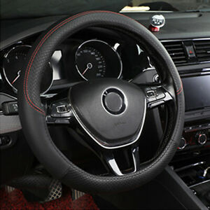 Pu Leather Car Steering Wheel Cover Good Grip Car Accessories For 15 37 38cm