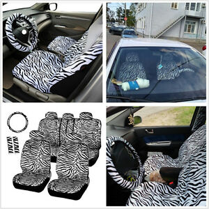 12 X Universal Short Plush White Zebra Car Steering Wheel Cover Auto Seat Covers