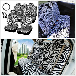 12pcs Set Short Plush White Zebra Car Seats Covers Steering Wheel Cover Shoulder