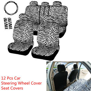 Short Plush Luxury Zebra Seat Covers Universal Fot Most Car Seat Steering Wheel
