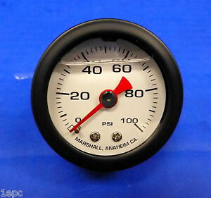 Marshall Gauge 0 100 Psi Fuel Oil Gas Pressure White Black Casing 1 5 Liquid