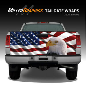 Waving American Flag Bald Eagle 2 Truck Tailgate Vinyl Graphic Decal Wraps