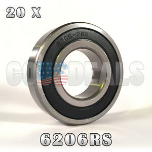 6206rs 6206 2rs Deep Groove Ball Bearing 30mm X 62mm X 16mm 20 Pcs