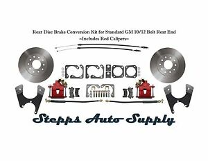 Rear Disc Brake Conversion Kit For Standard Gm 10 12 Bolt Rear End Red Calipers