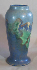 Arts And Crafts Art Pottery Scenic Vase 12 Inches High