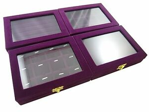 Purple Velvet Glass Top Showcase Display Box Counter Jewelry Shop Presentation