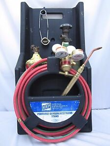 Portable Oxygen Acetylene Cutting Torch Kit With Stand Hose Gauges