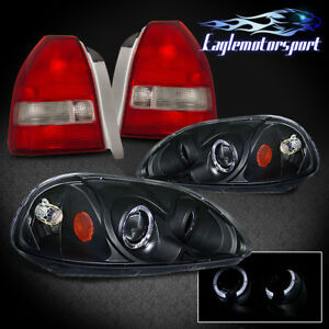 1996 1998 Honda Civic 3dr Projector Headlight Red Clear Tail Lamp