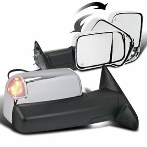 Power Heated Led Puddle Lamp Chrome Tow Mirrors For 2010 15 Ram Side Mirror Pair