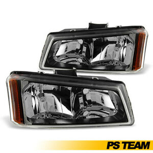 Black 2003 2004 2005 2006 2007 Chevy Silverado Avalanche Headlights Lh Rh