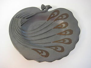Antique Pewter Art Nouveau Peacock W Brass Feathers Overlay Decorative Tray Dish