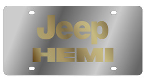 Jeep Hemi Gold Letters Mirror Stainless Steel License Plate