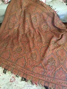 Large Antique 19c Woven Red Earth Tones Gorgeous Paisley Shawl Throw Coverlet