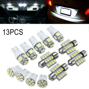 13x White Led Light Interior Package T10 31mm Festoon Map Dome License Plate