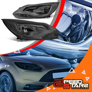 For 12 14 Ford Focus Left Right Smoked Clear Side Bumper Headlight Lamp Pair