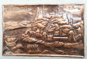 Vintage Repousse Hammered Embossed Copper Plaque Picture Belgrade Xvi Cc Signed