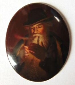 Antique Hutschenreuther Porcelain Plaque The Smoker Smoking Man Kpm Georg Hom