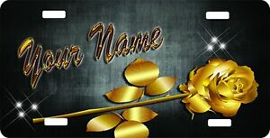 Custom Personalized License Plate Auto Car Tag Gold Rose