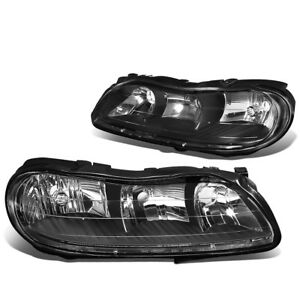For 97 03 Chevy Malibu Left Right Black Bumper Clear Side Headlight Lamp Pair