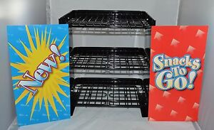 3 Tier Expandable Snack Display Rack Black Wire Signs 13 18 Wide Impulse New