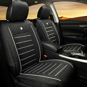 Universal Car Auto Seat Cover Cushion 5 seats Front Rear Linen Fabric Interior