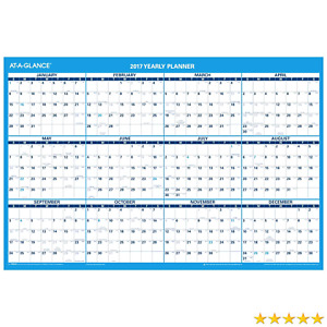 At a glance Wall Calendar 2017 Erasable Horizontal Reversible For Planning S