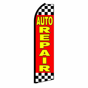 Auto Repair Advertising Flutter Feather Sign Swooper Banner Flag Only