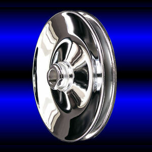 Chrome 1 Groove Power Steering Pulley For Small Block Chevy 327 350 383 Keyway