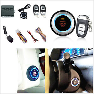Car Alarm System Security Vibration Alarm Engine Starter Push Button Remote Kit