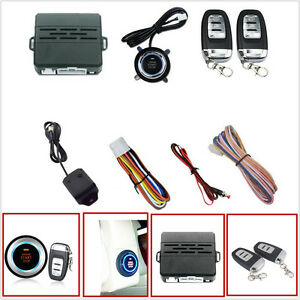 Car Security Vibration Alarm System Engine Ignition Start Push Button Remote Kit
