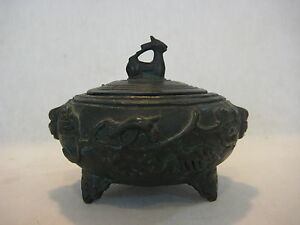 Rare Antique Chinese Heavy Bronze Incense Burner Box With Lid 5 Widest X 4 T