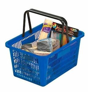 5 Shopping Basket Break resistant Plastic Plastic Handles blue
