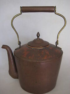 Vintage Large Handmade Copper Tea Kettle Pot 11 1 2 H X 9 1 2 L Rare