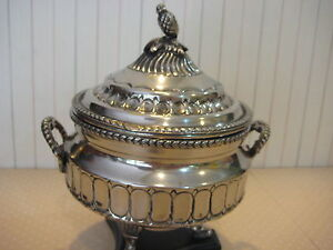 Rare Antique Silver On Brass Footed Incense Burner With Lid 8 Tall X 6 3 4 W