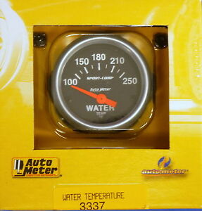 Auto Meter 3337 Sport Comp Electric Water Temperature Gauge Temp 100 250 Deg