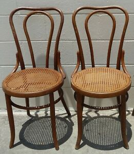 Set Of 3 Antique Bentwood Chairs By Fischel W Original Label Circa 1910