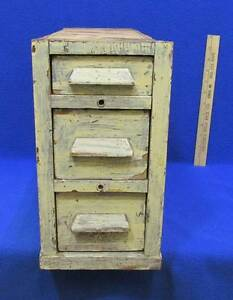 Antique 3 Drawer Chest Desk Table Top Wood File Parts Hardware Tools Painted