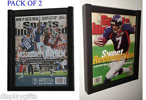 Pack Of 2 Magazine Sports Illustrated Display Frame Case Shadow Box Bh02 q2