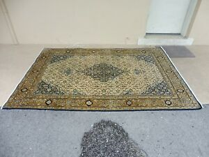 Super Fine Vintage Semi Antique Silk Wool Qum Oriental Rug